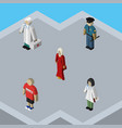 isometric human set of doctor medic officer and vector image vector image
