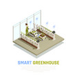 isometric smart greenhouse background vector image vector image