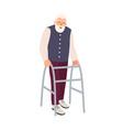 joyful elderly man with walking frame or walker vector image