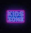 kids zone neon sign kids zone design vector image