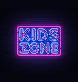 kids zone neon sign zone design vector image