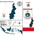 Map of West Sulawesi vector image vector image