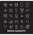 media gadgets 2 editable line icons set on vector image vector image