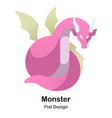 monster flat icon vector image vector image