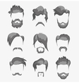 mustache beard and hairstyle hipster vector image vector image