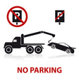 no parking symbols with car and signs eps10 vector image