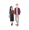 pair of young man and woman of different vector image vector image