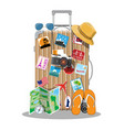 plastic travel bag plastic case with wheels vector image vector image