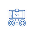 playing on the smartphone line icon concept vector image vector image