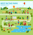 rest in the park infographic elements flat vector image vector image