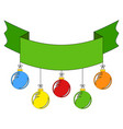 ribbon banner in green color decorated vector image