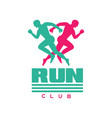 run club logo badge with abstract running men vector image vector image