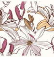 seamless floral pattern with image a magnolia vector image vector image