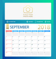 september 2018 calendar or vector image vector image