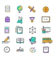 Set of Thin Lines Icons Back to School vector image vector image