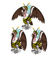 set of three vultures in bee costume birds vector image vector image