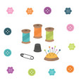 sewing kit thread thimble needle pin button vector image