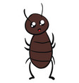 shocked cockroach on white background vector image vector image