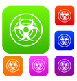 sign of biological threat set color collection vector image vector image