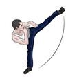 silhouette of a karateka doing standing side kick vector image vector image