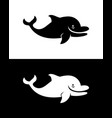 smiling dolphin silhouette vector image vector image