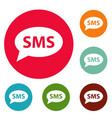 sms icons circle set vector image