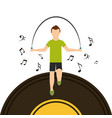 sport man jumping rope with vinyl disk musical vector image