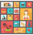Summer and vacation icons set flat design vector image