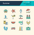 summer icons filled outline design collection 19 vector image