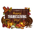 thanksgiving turkey harvest sketch greeting vector image vector image