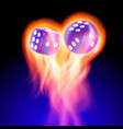 two blue dices in fire vector image vector image