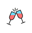 two glasses clink flat color line icon vector image