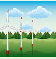 wind turbines with mountains renewable energy vector image