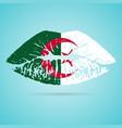 algeria flag lipstick on the lips isolated on a vector image