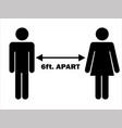 6 ft apart man woman stick figure pictograph vector image vector image