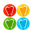 abstract tooth line art round icons vector image vector image