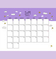 april 2019 wall calendar doodle style vector image vector image