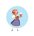 Attractive woman in dirndl with beer and pretzel vector image vector image