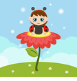 Baby dressed as ladybug on the flower vector image vector image