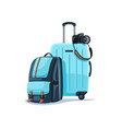 backpack and suitcase vector image