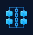 blue cubes with chain icon - blockchain vector image vector image