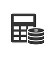 calculator and pile coins icon on white vector image