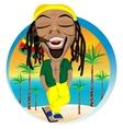 Cheerful rastafarian and palm tree beach vector image vector image