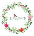 christmas card with wreath bird and poinsettia vector image vector image