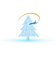 christmas tree from snowflake with airplane eps10 vector image vector image