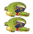 crocodile in gold chains and in pirate hat vector image