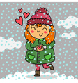 Cute girl holding love letter vector image vector image