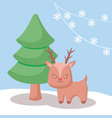 cute reindeer with tree christmas vector image