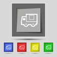 Delivery truck icon sign on original five colored vector image vector image