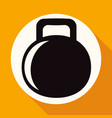dumbbell icon on white circle with a long shadow vector image vector image